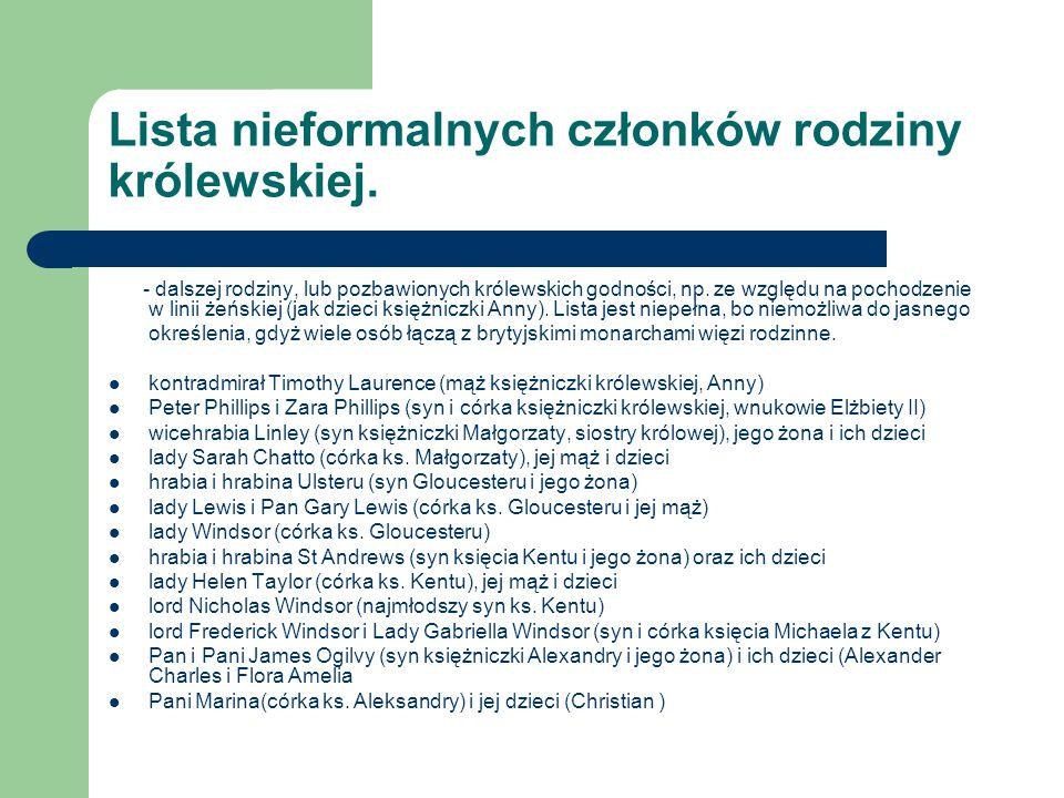 Lista nieformalnych członków rodziny królewskiej.