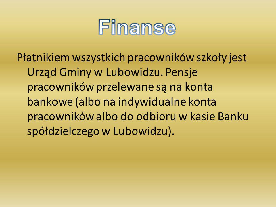 Płatnikiem wszystkich pracowników szkoły jest Urząd Gminy w Lubowidzu. Pensje pracowników przelewane są na konta bankowe (albo na indywidualne konta p