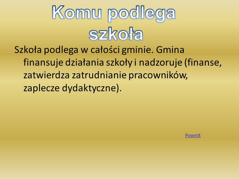 Szkoła podlega w całości gminie. Gmina finansuje działania szkoły i nadzoruje (finanse, zatwierdza zatrudnianie pracowników, zaplecze dydaktyczne). Po