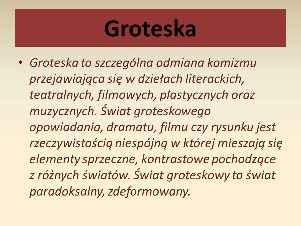 Termin groteska pochodzi od włoskiego słowa la grottesca wywodzącego się od wyrazu la grotta, oznaczającego jaskinię lub piwnicę.