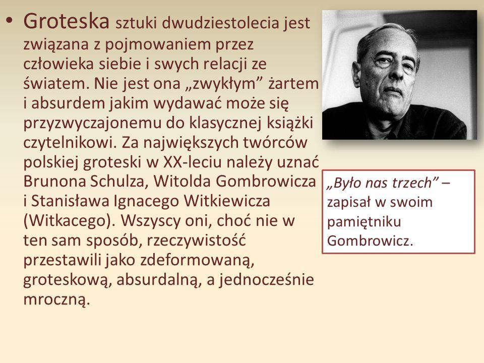 """Groteska w """"Ferdydurke """"Ferdydurke Gombrowicza to arcydzieło absurdu, w którym logiczne związki między wydarzeniami w tekście są zawieszone, a fizyczne, obiektywne prawa rzeczywistości zupełnie zignorowane."""