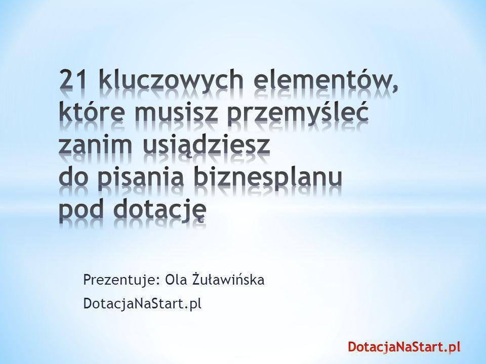 Prezentuje: Ola Żuławińska DotacjaNaStart.pl