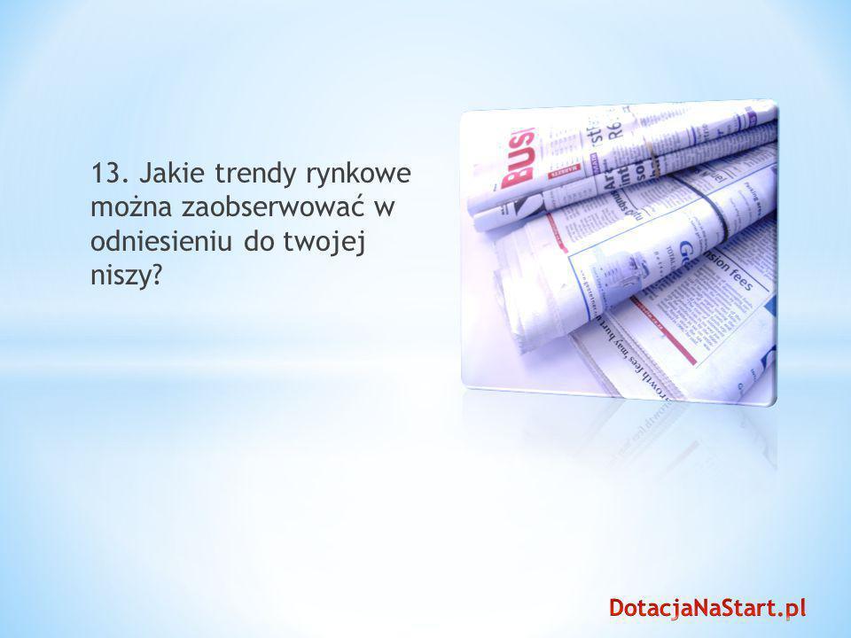 13. Jakie trendy rynkowe można zaobserwować w odniesieniu do twojej niszy?