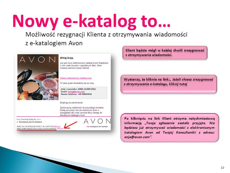 10 Nowy e-katalog to… Możliwość rezygnacji Klienta z otrzymywania wiadomości z e-katalogiem Avon Klient będzie mógł w każdej chwili zrezygnować z otrz