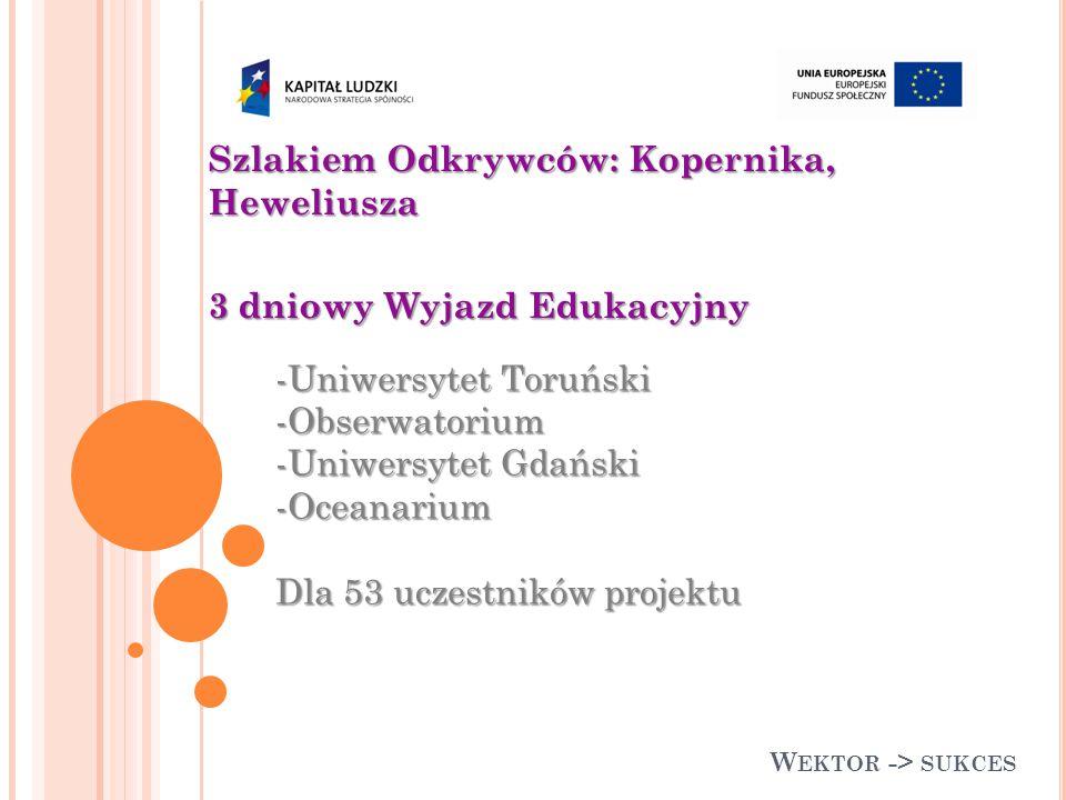 W EKTOR -> SUKCES Szlakiem Odkrywców: Kopernika, Heweliusza 3 dniowy Wyjazd Edukacyjny -Uniwersytet Toruński -Obserwatorium -Uniwersytet Gdański -Oceanarium Dla 53 uczestników projektu