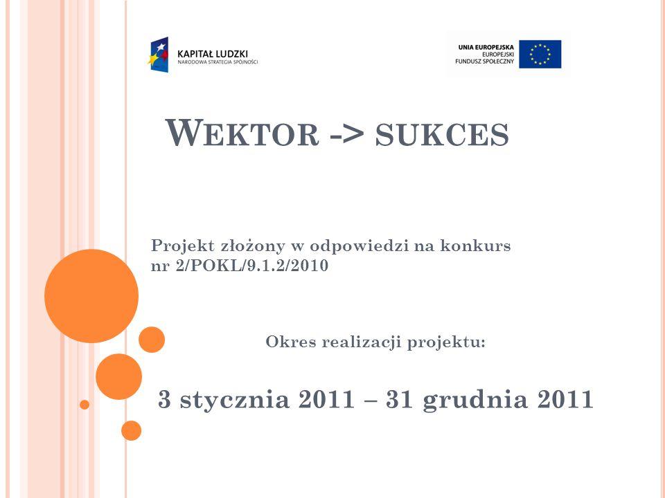 W EKTOR -> SUKCES Projekt złożony w odpowiedzi na konkurs nr 2/POKL/9.1.2/2010 Okres realizacji projektu: 3 stycznia 2011 – 31 grudnia 2011