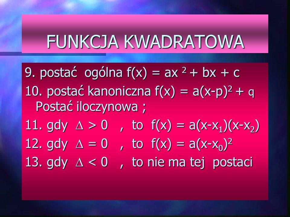FUNKCJA LINIOWA 1. postać kierunkowa f(x) = ax + b 2. a - współczynnik kierunkowy 3. b - wyraz wolny 4. a = tg  5.gdy a > 0 funkcja jest rosnąca 6. g
