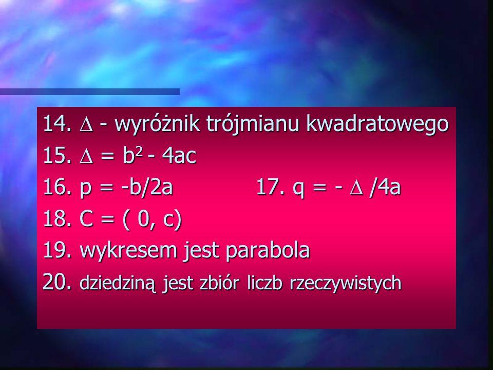 FUNKCJA KWADRATOWA 9. postać ogólna f(x) = ax 2 + bx + c 10. postać kanoniczna f(x) = a(x-p) 2 a(x-p) 2 + q Postać iloczynowa ; 11. gdy > 0, to f(x)