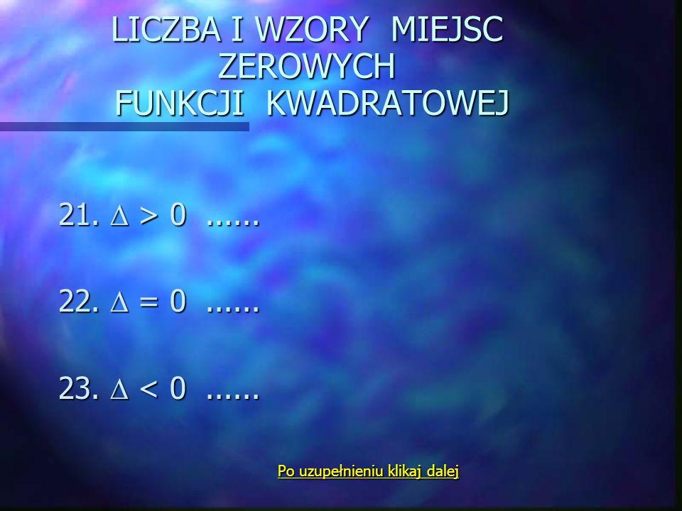 FUNKCJA KWADRATOWA ( a 0 ) 9. postać ogólna...... 10. postać kanoniczna … Postać iloczynowa : Postać iloczynowa : 11. gdy  > 0.... 12.  = 0.... 13.