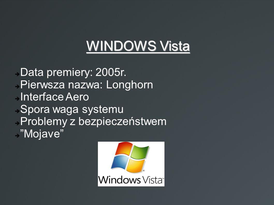 """WINDOWS Vista  Data premiery: 2005r.  Pierwsza nazwa: Longhorn  Interface Aero  Spora waga systemu  Problemy z bezpieczeństwem  """"Mojave"""""""