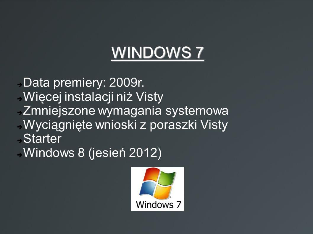 WINDOWS 7  Data premiery: 2009r.  Więcej instalacji niż Visty  Zmniejszone wymagania systemowa  Wyciągnięte wnioski z poraszki Visty  Starter  W
