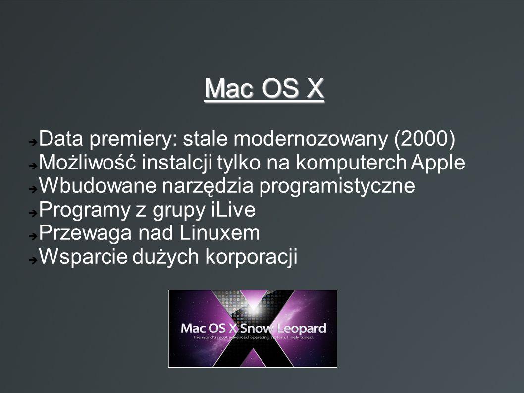  Data premiery: stale modernozowany (2000)  Możliwość instalcji tylko na komputerch Apple  Wbudowane narzędzia programistyczne  Programy z grupy i