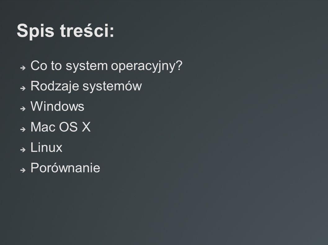 Spis treści:  Co to system operacyjny?  Rodzaje systemów  Windows  Mac OS X  Linux  Porównanie