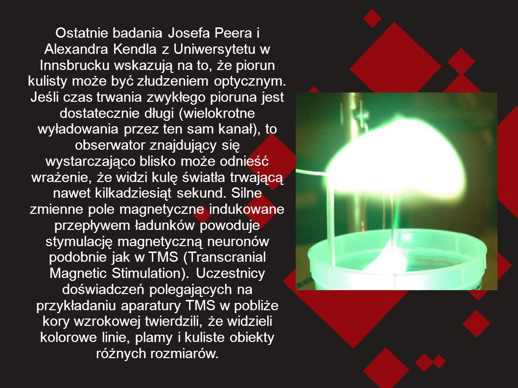 Ostatnie badania Josefa Peera i Alexandra Kendla z Uniwersytetu w Innsbrucku wskazują na to, że piorun kulisty może być złudzeniem optycznym. Jeśli cz