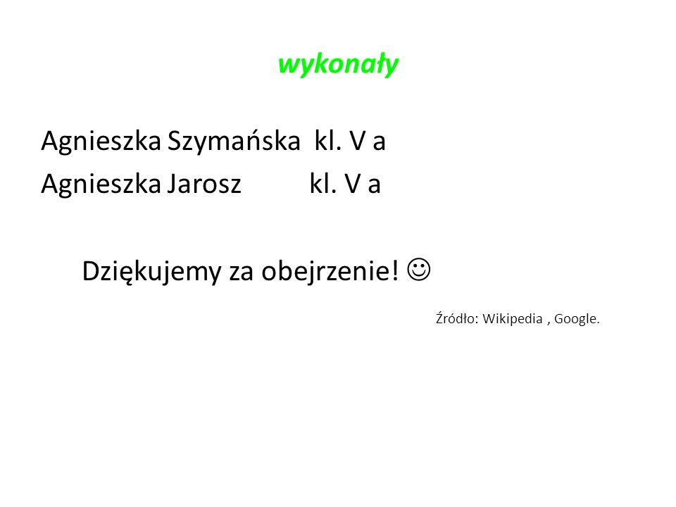wykonały Agnieszka Szymańska kl. V a Agnieszka Jarosz kl. V a Dziękujemy za obejrzenie! Źródło: Wikipedia, Google.
