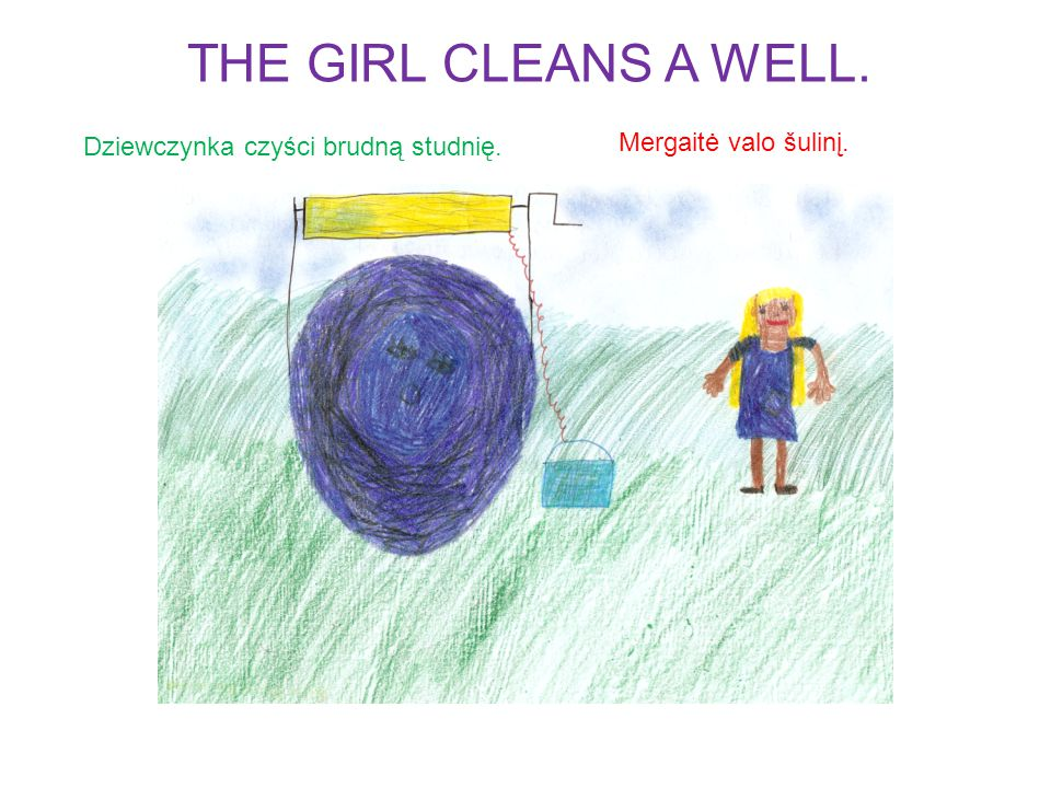 Dziewczynka naprawia stary piec. Mergaitė sutaiso seną pečių. THE GIRL FIXES AN OLD OVEN.