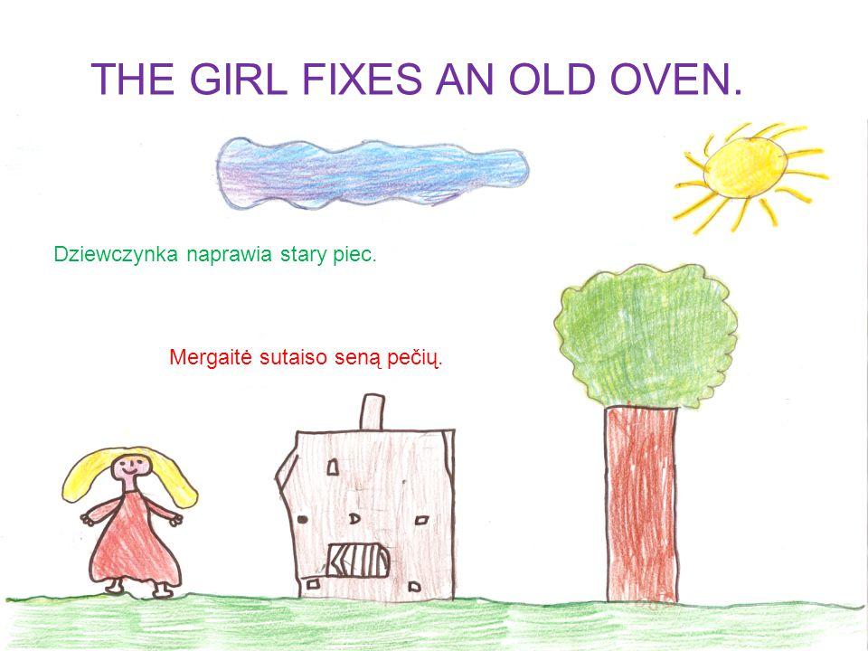 Dziewczynka spotyka panią Sekmadiene.Mergaitė sutinka senąją Sekmadienę.