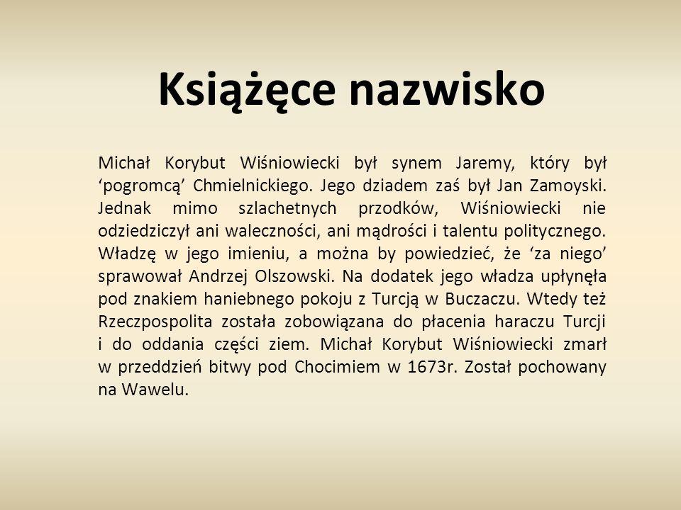Książęce nazwisko Michał Korybut Wiśniowiecki był synem Jaremy, który był 'pogromcą' Chmielnickiego. Jego dziadem zaś był Jan Zamoyski. Jednak mimo sz