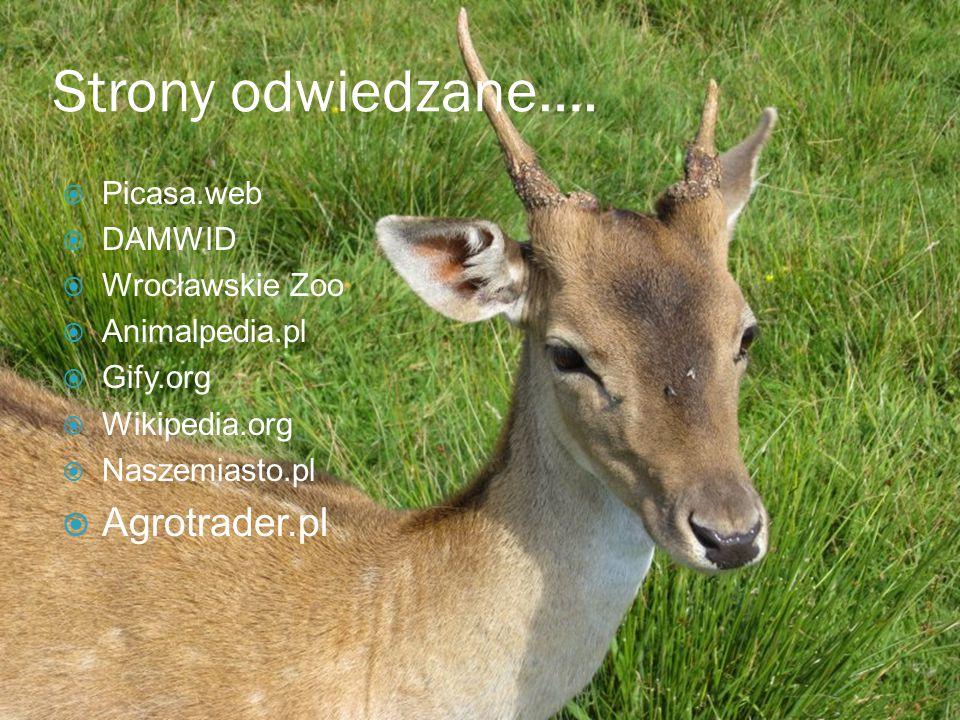 Strony odwiedzane….  Picasa.web  DAMWID  Wrocławskie Zoo  Animalpedia.pl  Gify.org  Wikipedia.org  Naszemiasto.pl  Agrotrader.pl