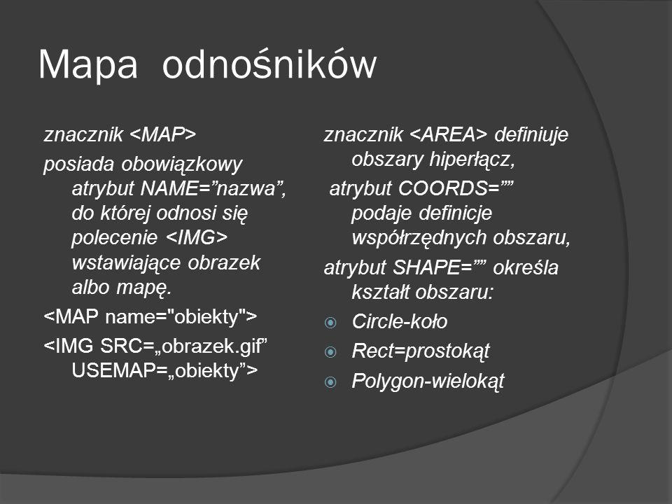 """Mapa odnośników znacznik posiada obowiązkowy atrybut NAME=""""nazwa"""", do której odnosi się polecenie wstawiające obrazek albo mapę. znacznik definiuje ob"""