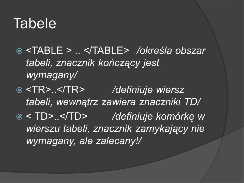 Tabele .. /określa obszar tabeli, znacznik kończący jest wymagany/ .. /definiuje wiersz tabeli, wewnątrz zawiera znaczniki TD/ .. /definiuje komórk
