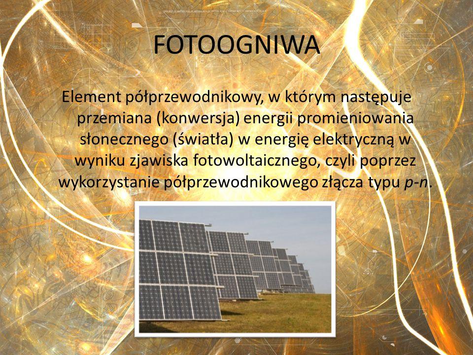 FOTOOGNIWA Element półprzewodnikowy, w którym następuje przemiana (konwersja) energii promieniowania słonecznego (światła) w energię elektryczną w wyn