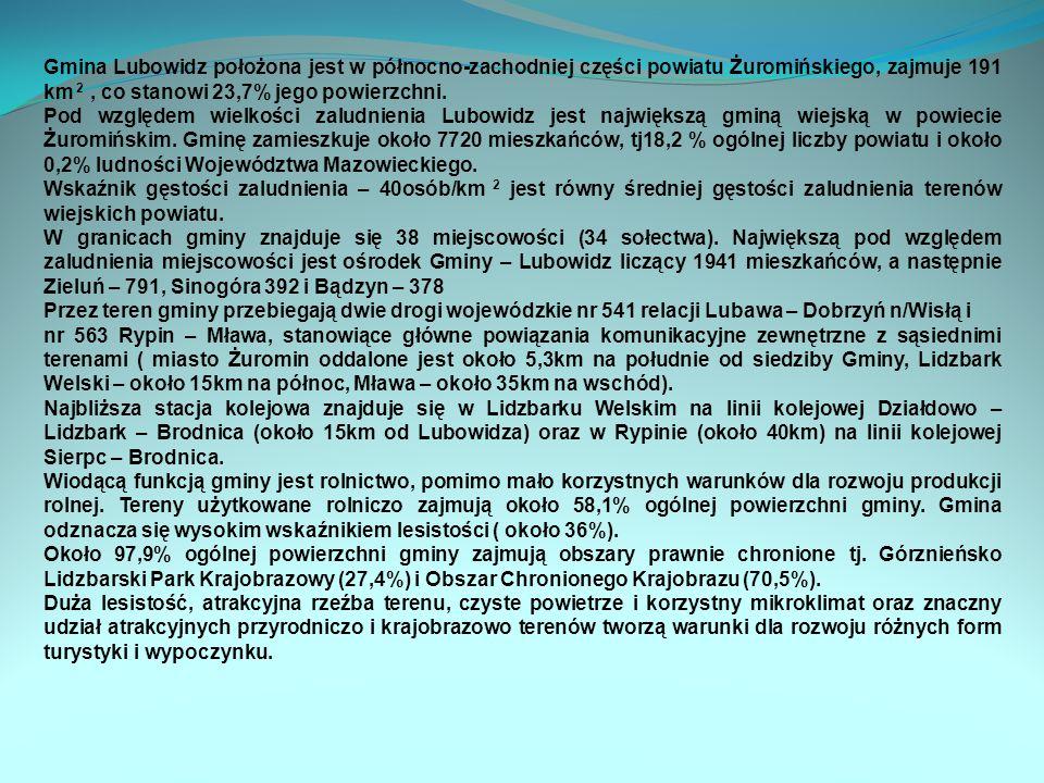 Gmina Lubowidz położona jest w północno-zachodniej części powiatu Żuromińskiego, zajmuje 191 km 2, co stanowi 23,7% jego powierzchni.