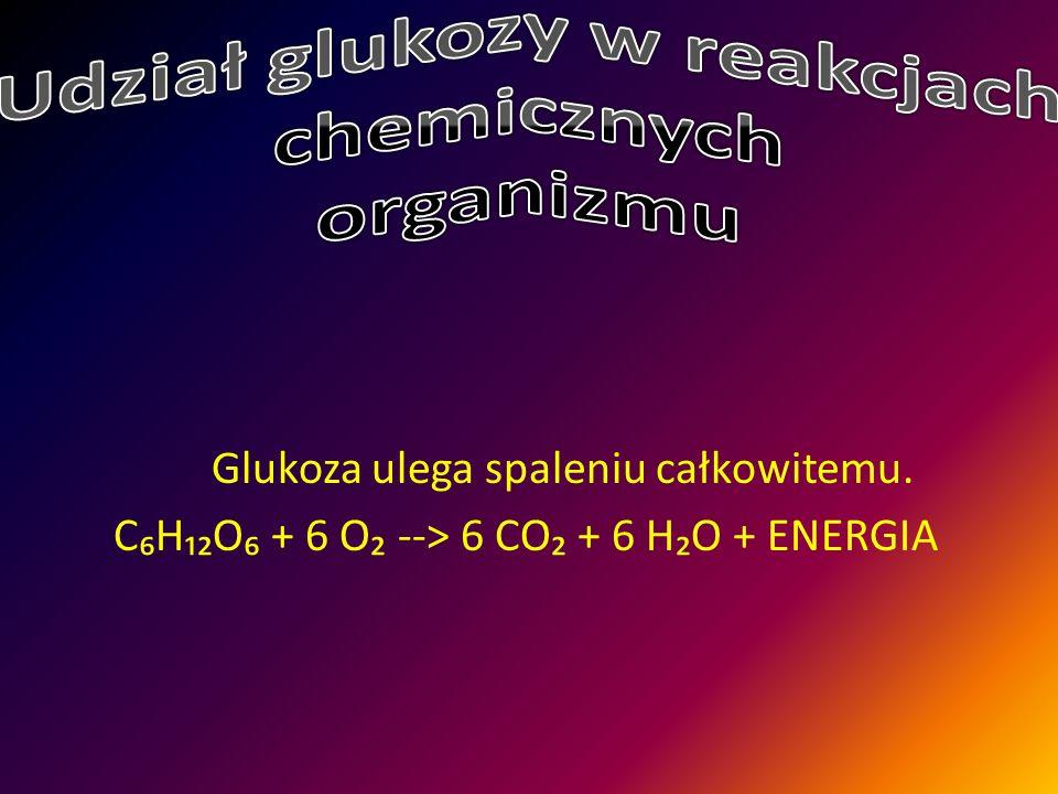 Glukoza ulega spaleniu całkowitemu. C₆H₁₂O₆ + 6 O₂ --> 6 CO₂ + 6 H₂O + ENERGIA