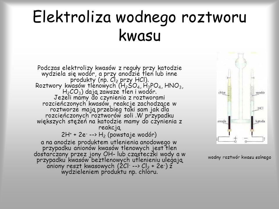 Elektroliza wodnego roztworu kwasu Podczas elektrolizy kwasów z reguły przy katodzie wydziela się wodór, a przy anodzie tlen lub inne produkty (np.