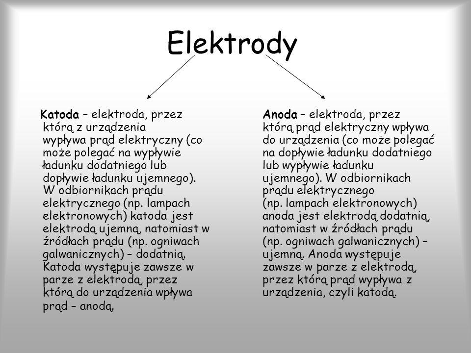 Elektrody Katoda – elektroda, przez którą z urządzenia wypływa prąd elektryczny (co może polegać na wypływie ładunku dodatniego lub dopływie ładunku ujemnego).