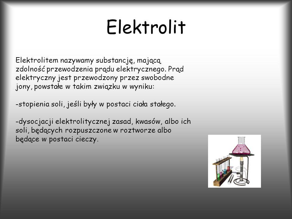 Elektrolit Elektrolitem nazywamy substancję, mającą zdolność przewodzenia prądu elektrycznego.