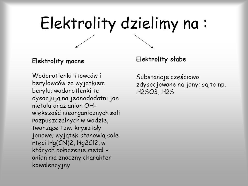 Elektrolity dzielimy na : Elektrolity mocne Wodorotlenki litowców i berylowców za wyjątkiem berylu; wodorotlenki te dysocjują na jednododatni jon metalu oraz anion OH- większość nieorganicznych soli rozpuszczalnych w wodzie, tworzące tzw.
