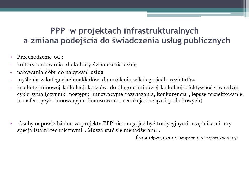 PPP w projektach infrastrukturalnych a zmiana podejścia do świadczenia usług publicznych Przechodzenie od : -kultury budowania do kultury świadczenia