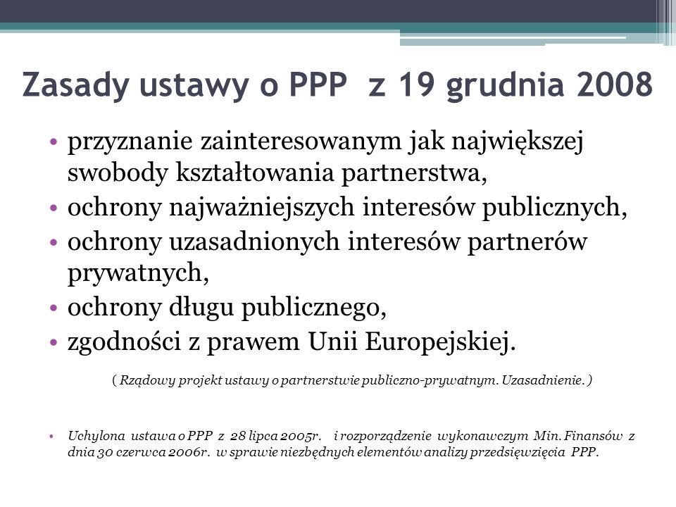 Zasady ustawy o PPP z 19 grudnia 2008 przyznanie zainteresowanym jak największej swobody kształtowania partnerstwa, ochrony najważniejszych interesów