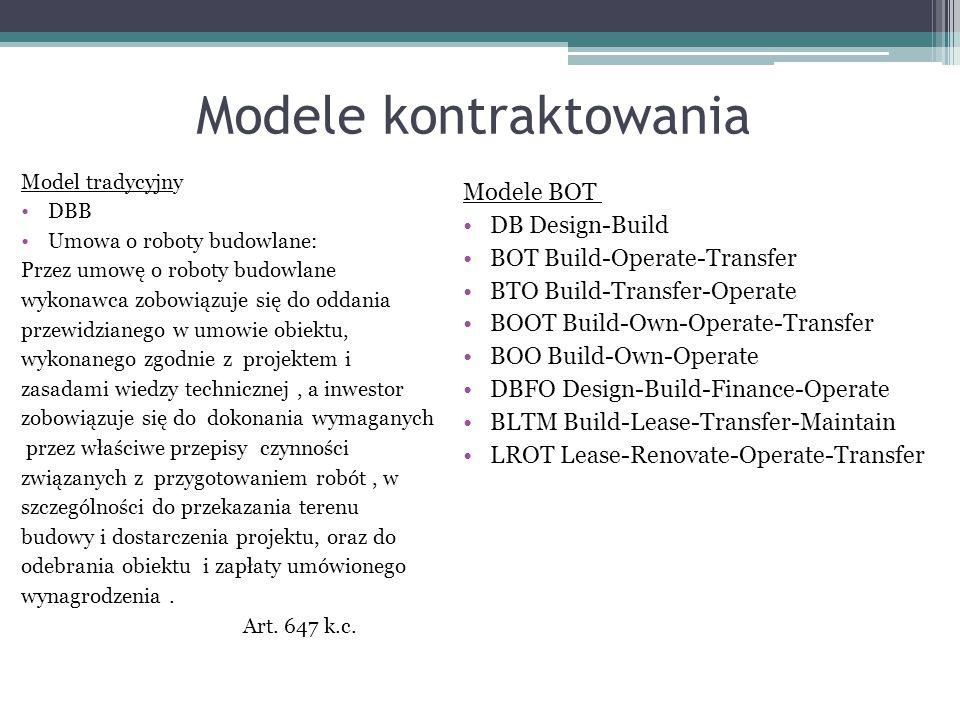 Modele kontraktowania Model tradycyjny DBB Umowa o roboty budowlane: Przez umowę o roboty budowlane wykonawca zobowiązuje się do oddania przewidzianeg