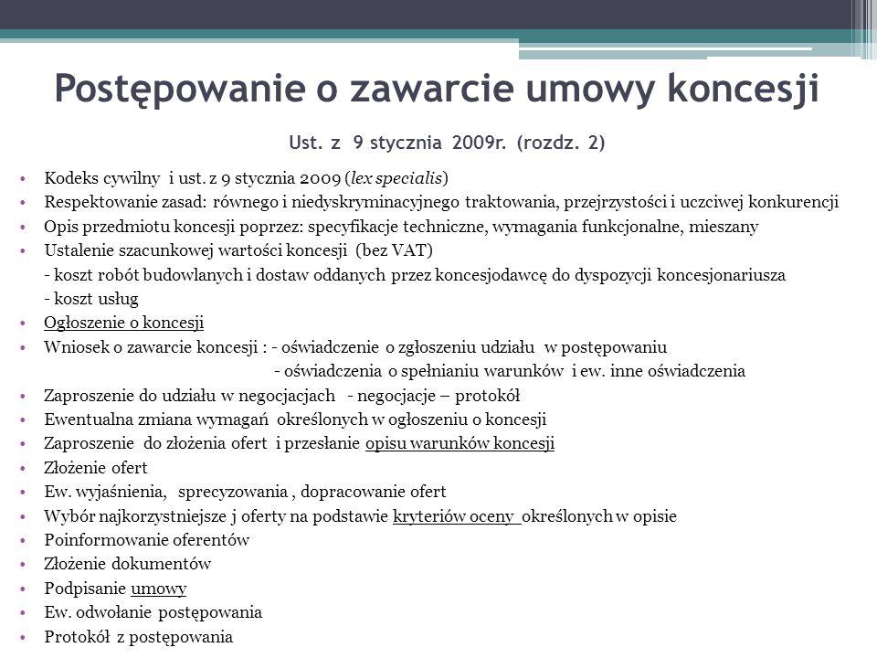 Postępowanie o zawarcie umowy koncesji Ust. z 9 stycznia 2009r. (rozdz. 2) Kodeks cywilny i ust. z 9 stycznia 2009 (lex specialis) Respektowanie zasad