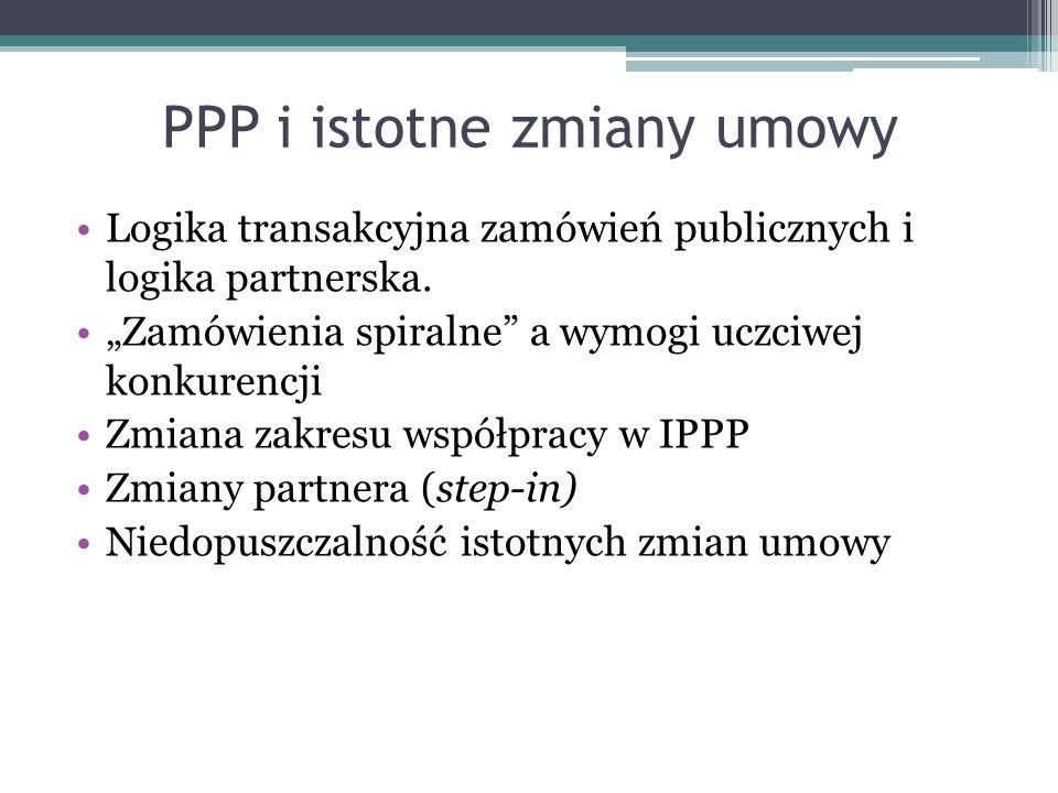 """PPP i istotne zmiany umowy Logika transakcyjna zamówień publicznych i logika partnerska. """"Zamówienia spiralne"""" a wymogi uczciwej konkurencji Zmiana za"""