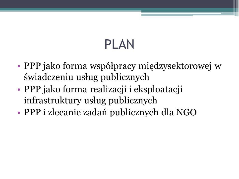 PLAN PPP jako forma współpracy międzysektorowej w świadczeniu usług publicznych PPP jako forma realizacji i eksploatacji infrastruktury usług publiczn