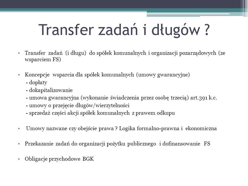 Transfer zadań i długów ? Transfer zadań (i długu) do spółek komunalnych i organizacji pozarządowych (ze wsparciem FS) Koncepcje wsparcia dla spółek k