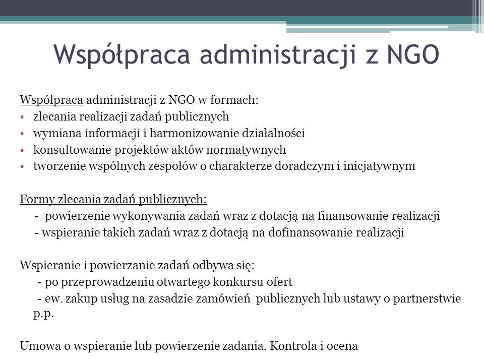 Współpraca administracji z NGO Współpraca administracji z NGO w formach: zlecania realizacji zadań publicznych wymiana informacji i harmonizowanie dzi