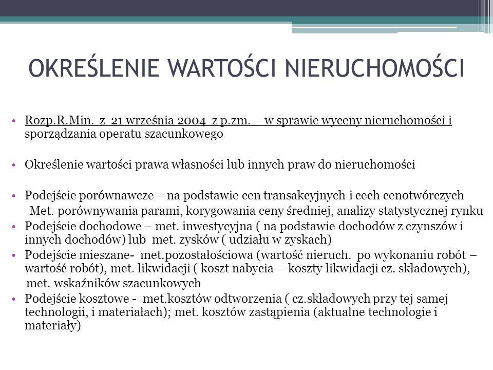OKREŚLENIE WARTOŚCI NIERUCHOMOŚCI Rozp.R.Min.z 21 września 2004 z p.zm.