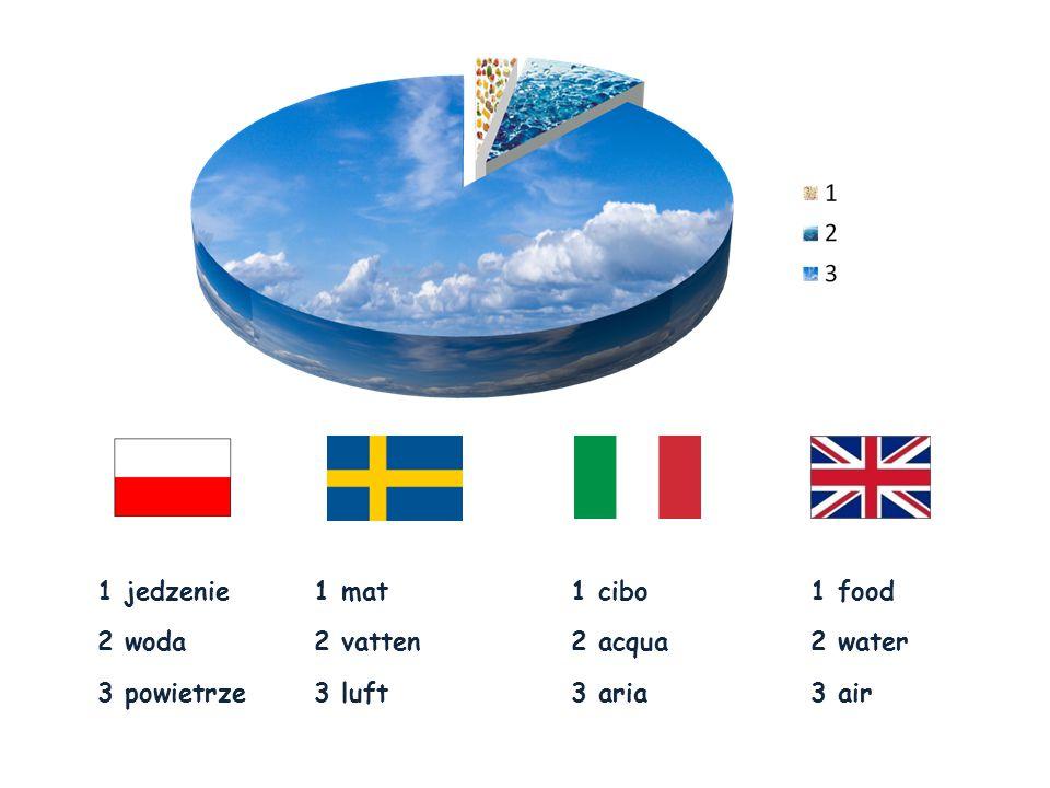 1 food 2 water 3 air 1 cibo 2 acqua 3 aria 1 mat 2 vatten 3 luft 1 jedzenie 2 woda 3 powietrze