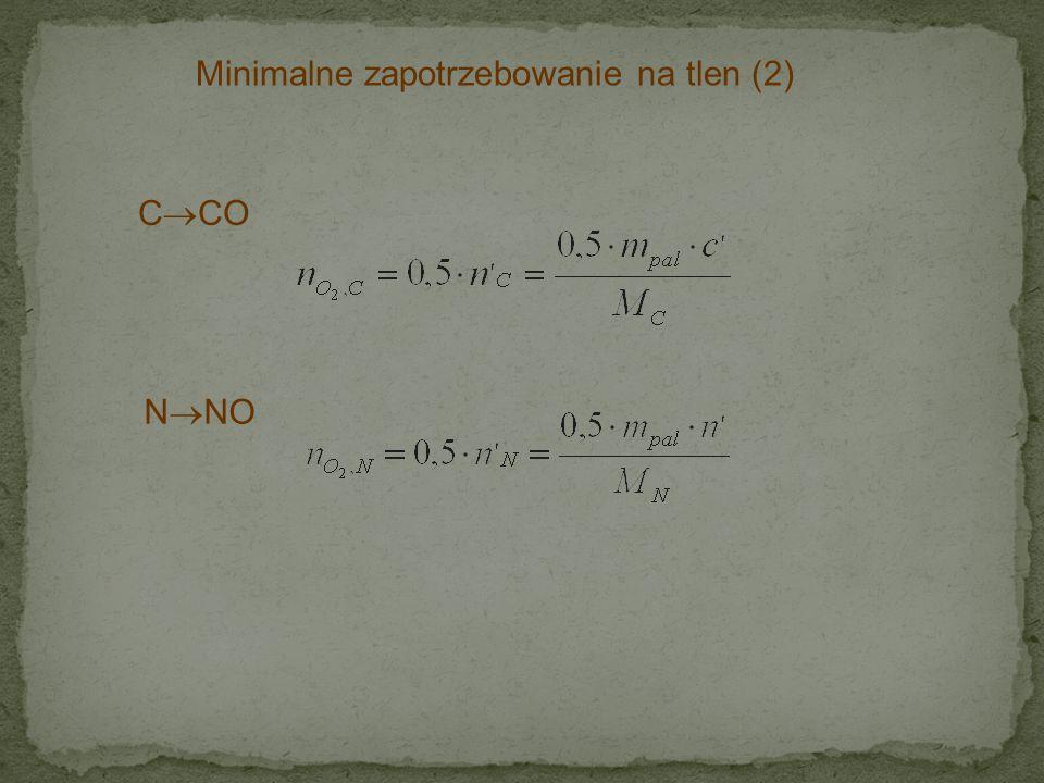 Minimalne zapotrzebowanie na tlen (2) C  CO N  NO