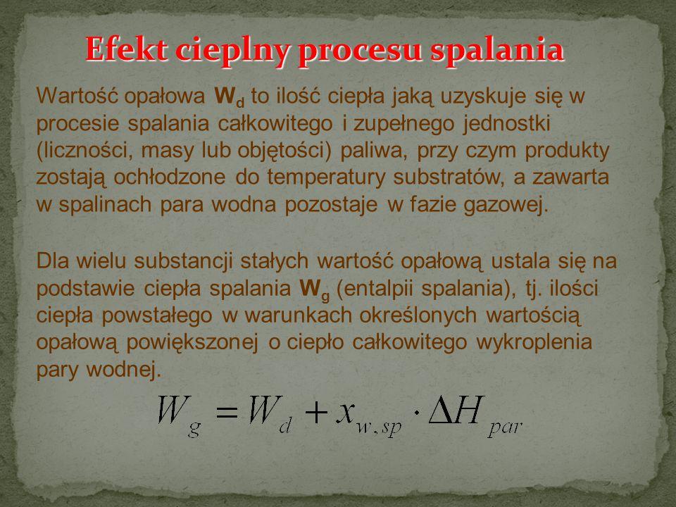 Efekt cieplny procesu spalania Wartość opałowa W d to ilość ciepła jaką uzyskuje się w procesie spalania całkowitego i zupełnego jednostki (liczności,