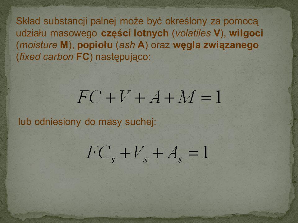 Jeśli znana jest wartość opałowa suchej masy bezpopiołowej W d,s,p to wartość opałową masy wilgotnej oblicza się zgodnie z zależnością: