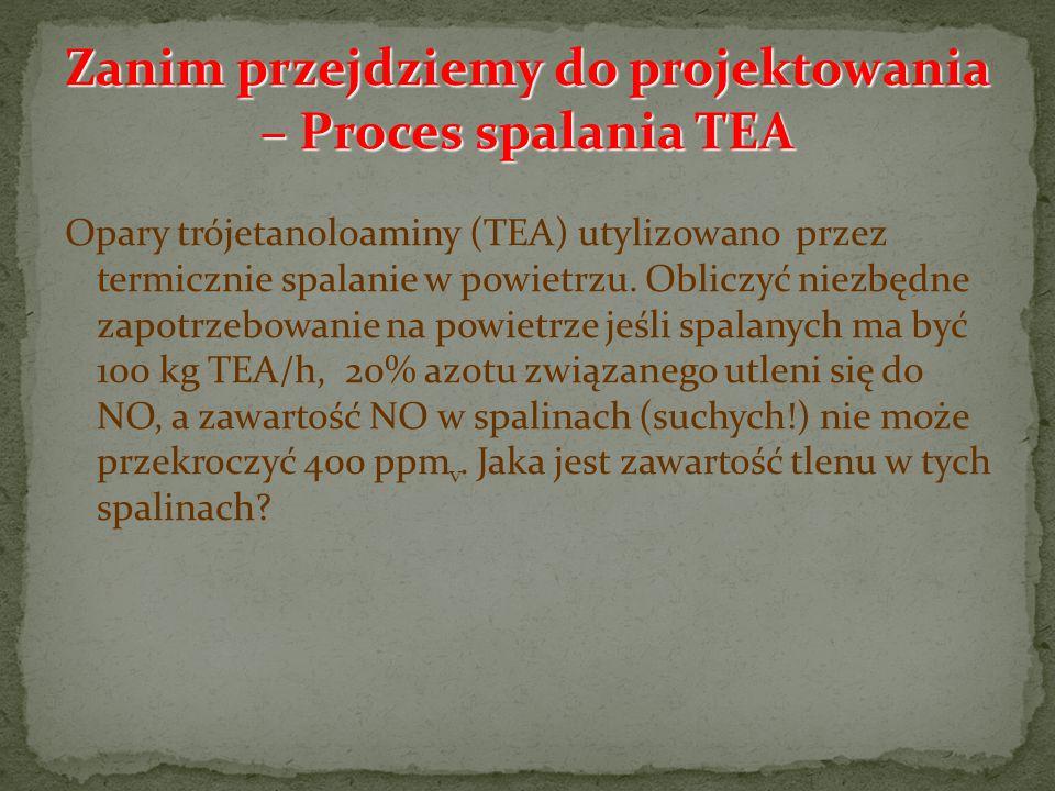 Opary trójetanoloaminy (TEA) utylizowano przez termicznie spalanie w powietrzu. Obliczyć niezbędne zapotrzebowanie na powietrze jeśli spalanych ma być