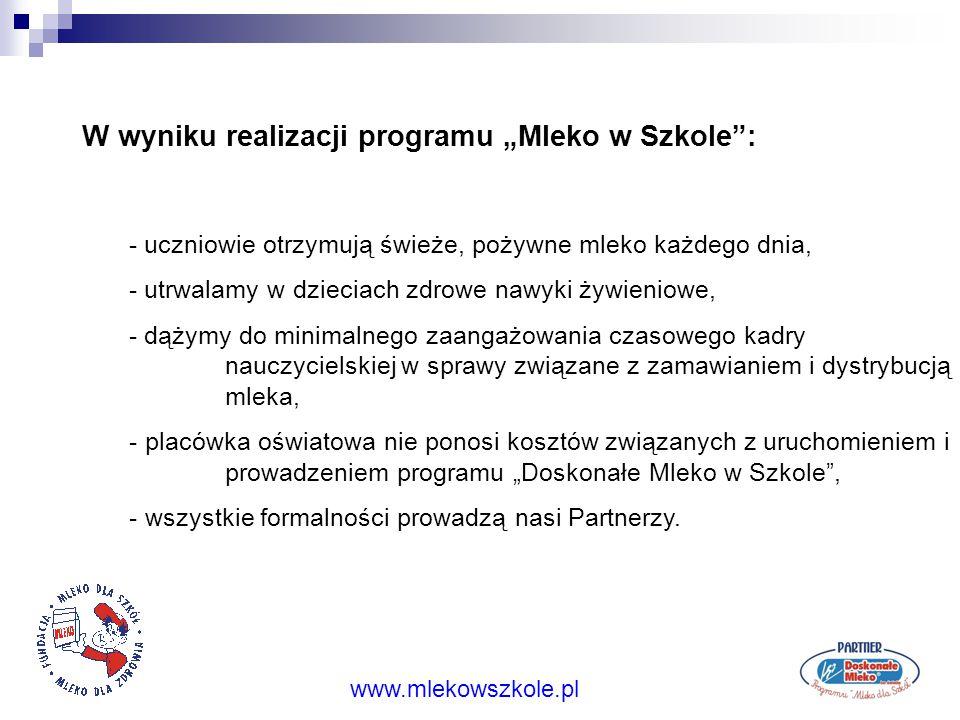"""Ideą Programu """"Mleko w Szkole"""" jest, aby co dzień każdy uczeń miał szanse na kartonik świeżego pożywnego mleka w swojej szkole. www.mlekowszkole.pl Od"""