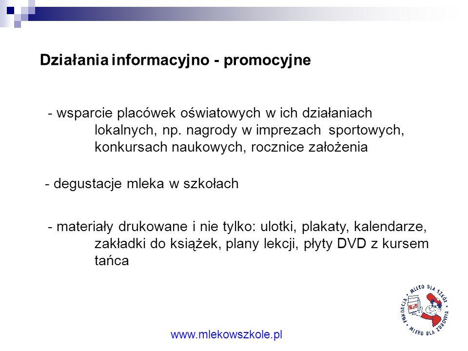 Działania informacyjno - promocyjne - strona internetowa www.mlekowszkole.pl (jest prowadzona i uaktualniana już od ponad 5 lat) www.mlekowszkole.pl