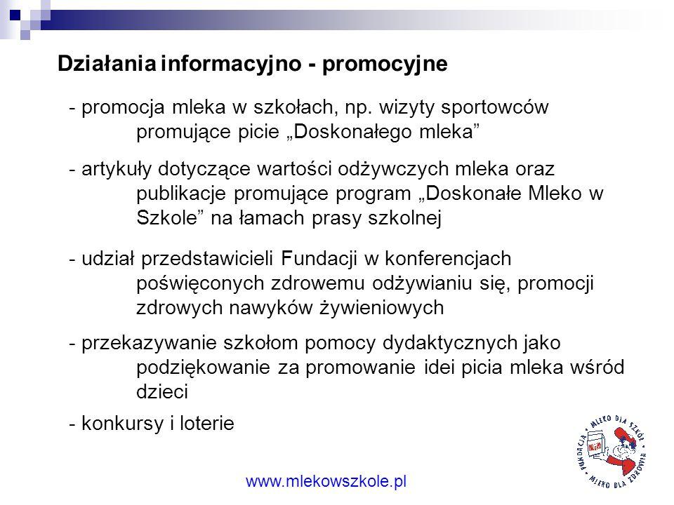 www.mlekowszkole.pl Przykładowe materiały promocyjne Ulotki informacyjno-promocyjne Plan lekcji