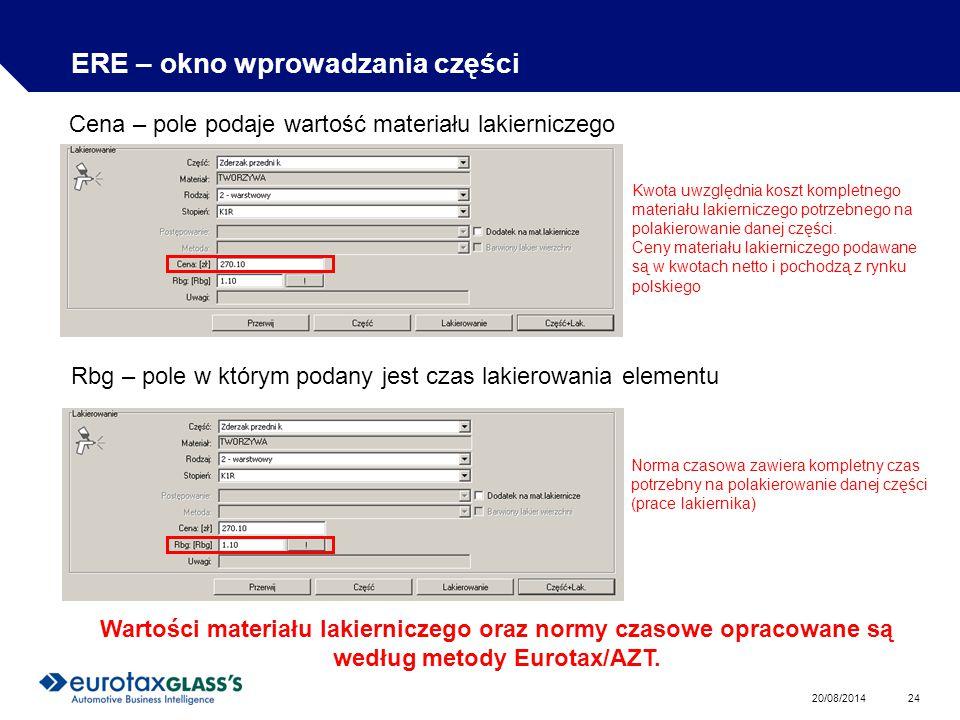 20/08/2014 24 ERE – okno wprowadzania części Cena – pole podaje wartość materiału lakierniczego Kwota uwzględnia koszt kompletnego materiału lakierniczego potrzebnego na polakierowanie danej części.